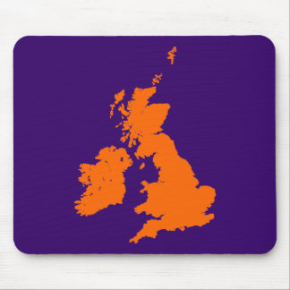 British Isles - Orange on Dark Violet Mouse Pad
