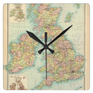 British Isles - political. Square Wall Clock