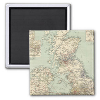 British Isles railways 2 Inch Square Magnet