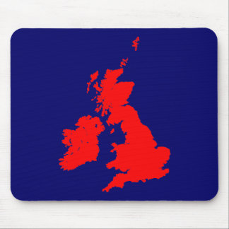 British Isles - Red on Dark Blue Mouse Pad