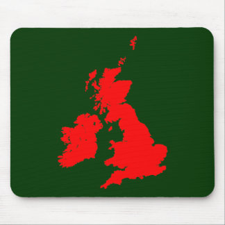 British Isles - Red on Dark Green Mouse Pad