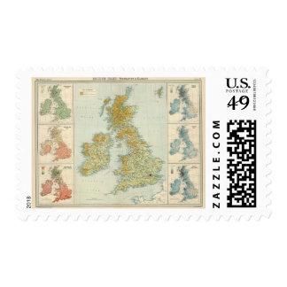 British Isles vegetation & climate map Postage Stamp