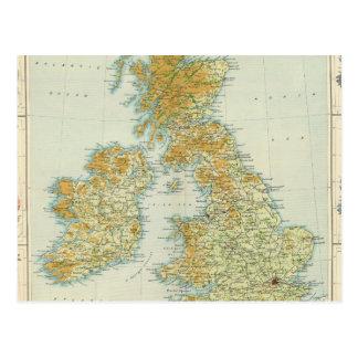 British Isles vegetation & climate map Postcard