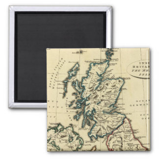 British Isles with boundaries outlined 2 Inch Square Magnet