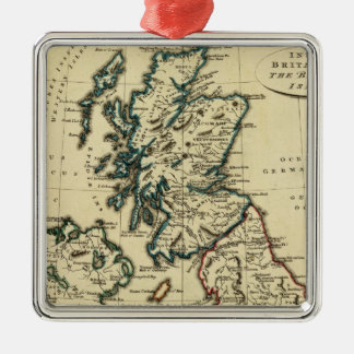 British Isles with boundaries outlined Square Metal Christmas Ornament