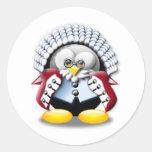 British Judge Tux Round Stickers
