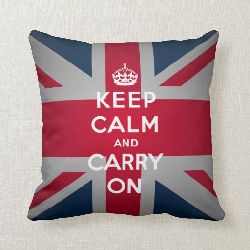 British Keep Calm Carry British Couch Throw Pillow