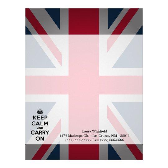 British Keep Calm Carry Letterhead Stationery