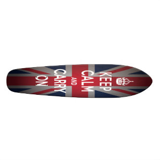 British Keep Calm Carry Old School Skateboard