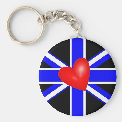 British Leather Pride Flag Basic Round Button Keychain