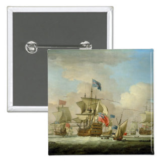 British Men-of-War and a Sloop, c.1720-30 (oil on Button
