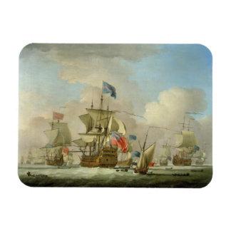 British Men-of-War and a Sloop, c.1720-30 (oil on Magnet