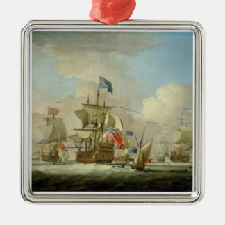 British Men-of-War and a Sloop, c.1720-30 (oil on Ornament