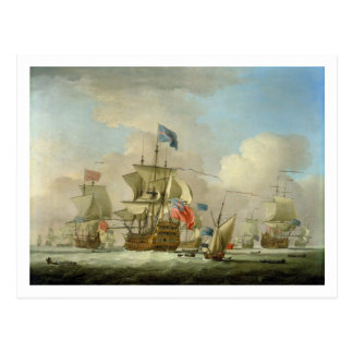 British Men-of-War and a Sloop, c.1720-30 (oil on Postcard
