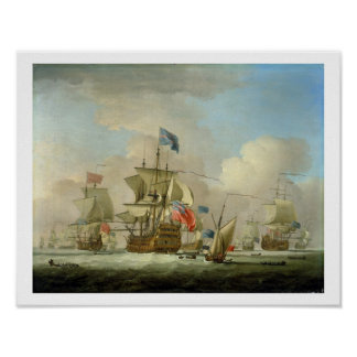 British Men-of-War and a Sloop, c.1720-30 (oil on Print