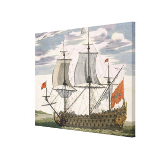 British Navy: a first-rate ship flying the White E Canvas Print
