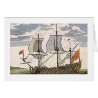 British Navy: a first-rate ship flying the White E Greeting Card