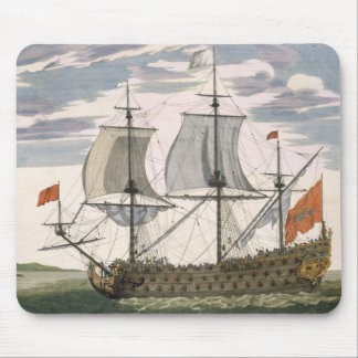 British Navy: a first-rate ship flying the White E Mouse Pad