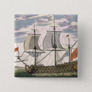 British Navy: a first-rate ship flying the White E Pinback Button