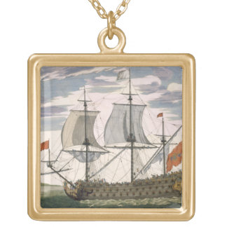 British Navy: a first-rate ship flying the White E Square Pendant Necklace