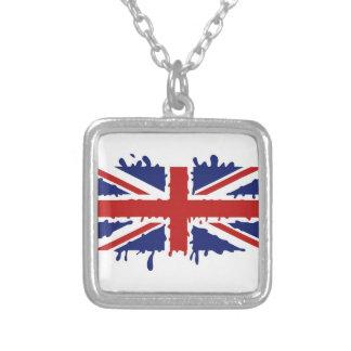British paint square pendant necklace