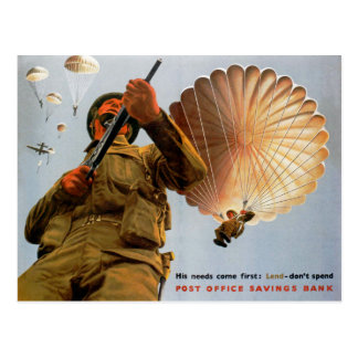 British Paratrooper ~ His Needs Come First Postcard