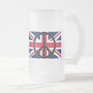 British Peace Skulls 16 Oz Frosted Glass Beer Mug