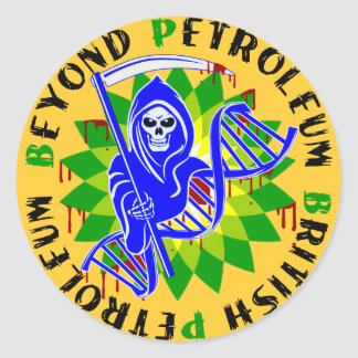 british petroleum blue plague classic round sticker