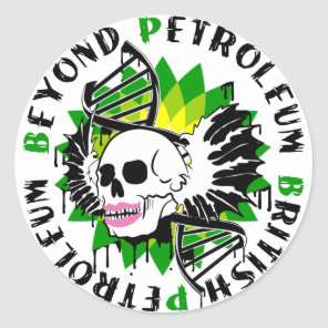 british petroleum blue plague synthia classic round sticker