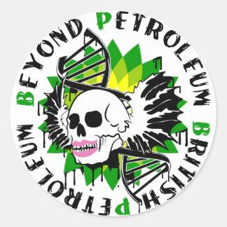 british petroleum blue plague synthia classic round sticker