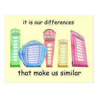 British phone booth cartoon - similarity-differenc postcard