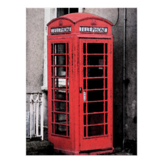 British Phone Booth Fresco Poster