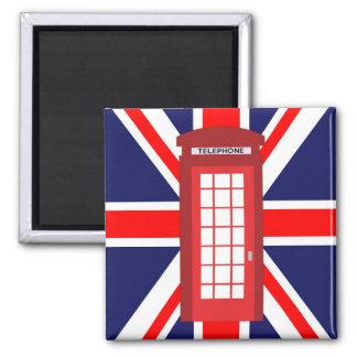 British phone box Union Jack flag 2 Inch Square Magnet