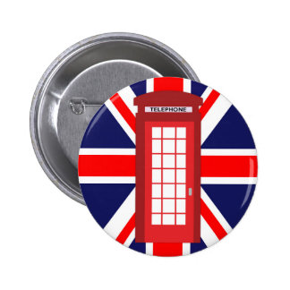 British phone box Union Jack flag Pinback Button