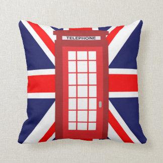 British phone box Union Jack flag Throw Pillow