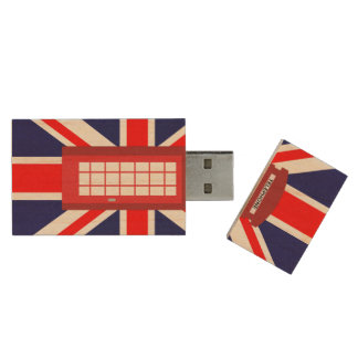 British phone box Union Jack flag Wood Flash Drive