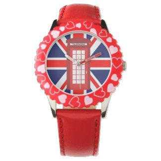 British phone box Union Jack flag Wristwatch