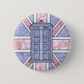 British Police Box and Union Jack Flag Illustrated Button