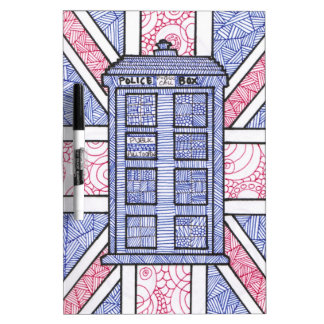 British Police Box and Union Jack Flag Illustrated Dry-Erase Board