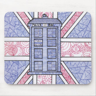 British Police Box and Union Jack Flag Illustrated Mouse Pad