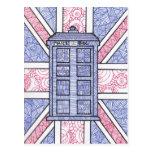 British Police Box and Union Jack Flag Illustrated Postcard