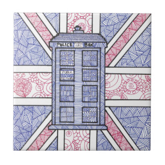 British Police Box and Union Jack Flag Illustrated Small Square Tile