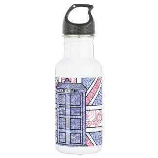 British Police Box and Union Jack Flag Illustrated Water Bottle