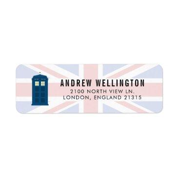 British Police Call Box UK Flag | Return Address Label