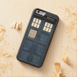 British Police Phone Call Box - Retro 1960s Style Carved Maple iPhone 6 Bumper Case