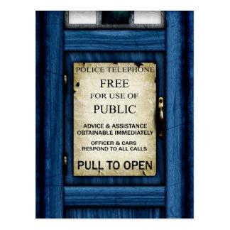 British Police Public Call Box Sign Art Postcard