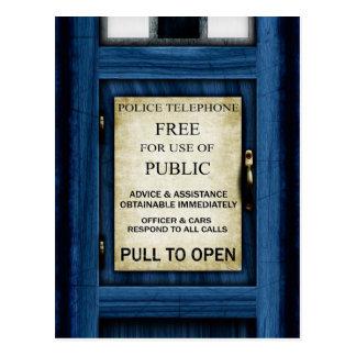 British Police Public Call Box Sign Art Postcard 2