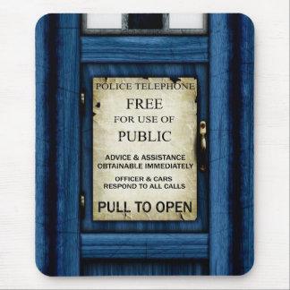 British Police Public Call Box Sign Mousepad