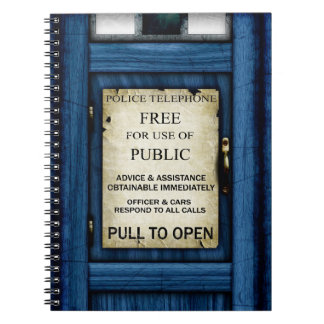 British Police Public Call Box Sign Notebook