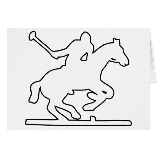 British Polo Sport Horse Player Silhouette Ponies Card